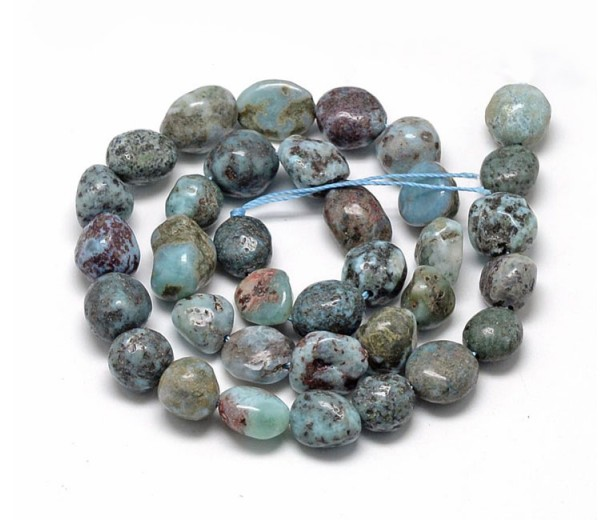 Larimar Beads, Teal, Medium Pebble