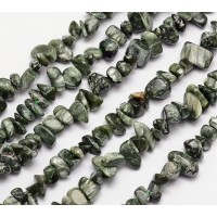 Seraphinite Beads, Green, Small Chip
