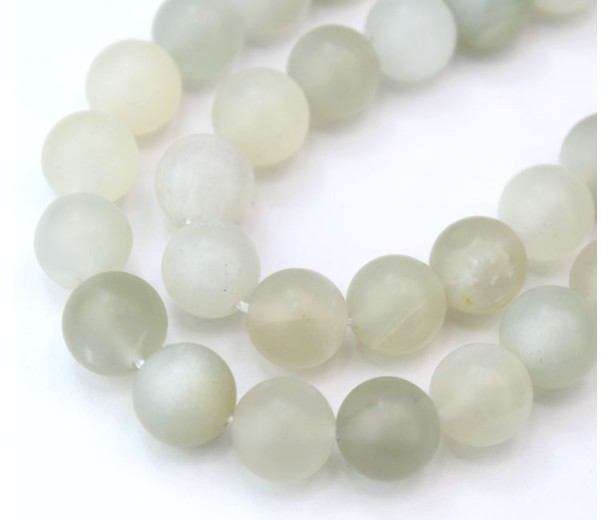 Matte Moonstone Beads, Natural, 10mm Round
