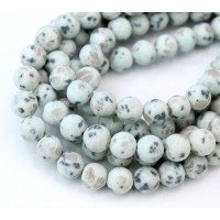 Matte Sesame Jasper Beads, Light Teal, 8mm Round