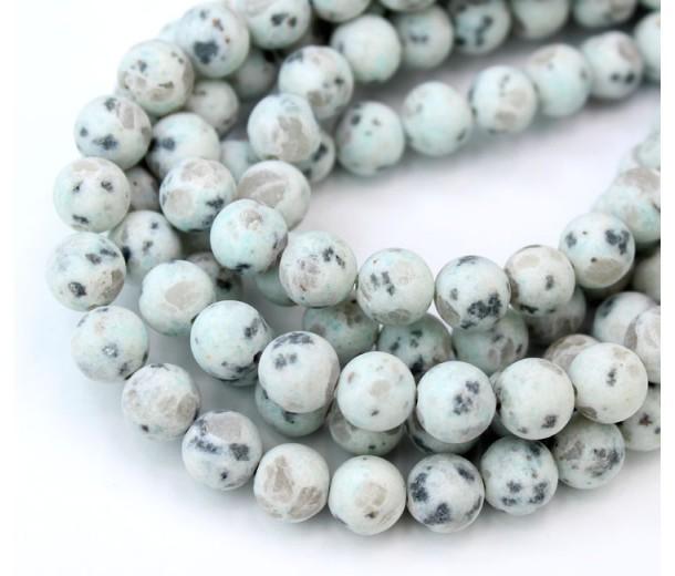 Matte Sesame Jasper Beads, Light Teal, 8mm Round