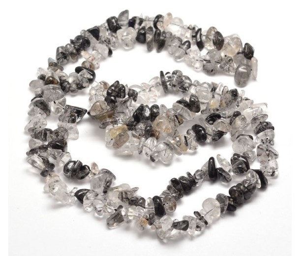 Rutilated Quartz Beads, Clear and Black, Medium Chip