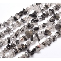 Rutilated Quartz Beads, Clear and Black, Medium Chip