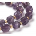 Amethyst Beads, Natural, 7x8mm Faceted Energy Prism