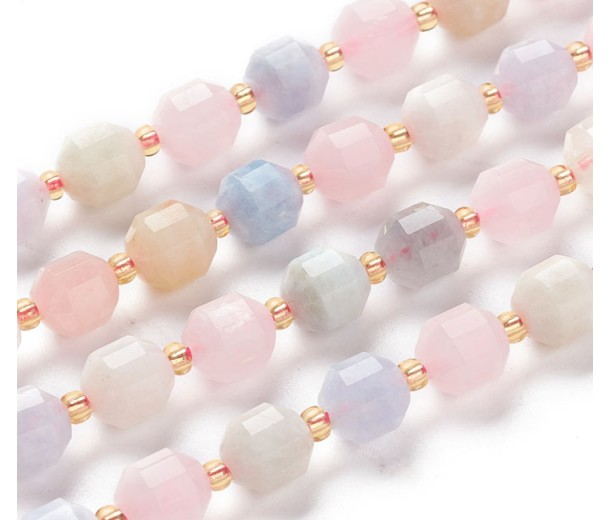 Morganite Beads, Natural, 7x8mm Faceted Energy Prism