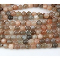 Moonstone Beads, Natural Tan and Grey, 6mm Faceted Round