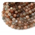Moonstone Beads, Tan and Grey, 6mm Faceted Round