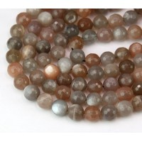 Moonstone Beads, Tan and Grey, 8mm Faceted Round