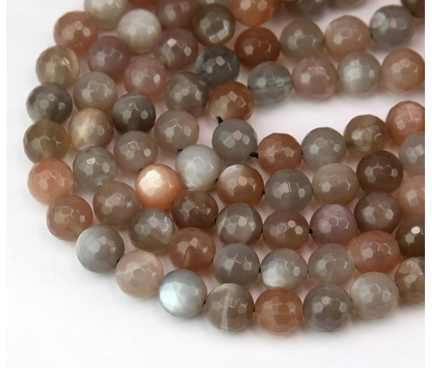 Grey Moonstone Beads, 8mm Faceted Round