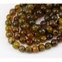 Fire Crackle Agate Beads, Earthy Mix, 8mm Faceted Round