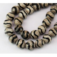 Dzi Agate Beads, Coffee and Black, 10mm Faceted Round