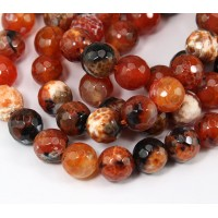 Fire Crackle Agate Beads, Orange and Black, 10mm Faceted Round