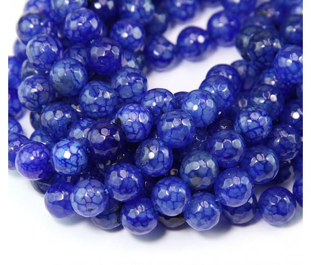 Agate Beads, Royal Blue, 8mm Faceted Round