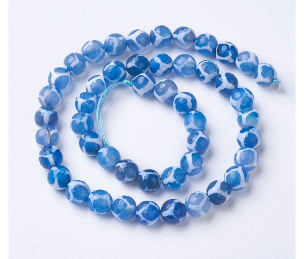Dzi Agate Beads, Blue and White, 10mm Faceted Round