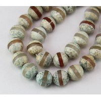 Fire Crackle Agate Beads, Light Teal and Brown, 10mm Faceted Round