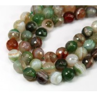 Agate Beads, Olive Green and Brown, 8mm Faceted Round