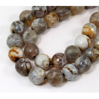 Fire Crackle Agate Beads, Grey, 10mm Faceted Round