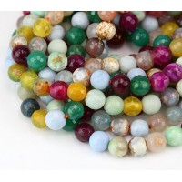 Agate Beads, Mixed Colors, 8mm Faceted Round