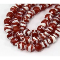 Dzi Agate Beads, Caramel Orange, 8mm Faceted Round