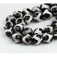 Dzi Agate Beads, Black and White, 8mm Faceted Round
