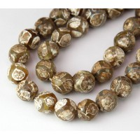Dzi Agate Beads, Brown Football, 10mm Faceted Round