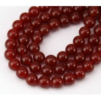 Carnelian Beads, Natural Dark Orange, 8mm Round