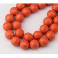 Imitation Turquoise Beads, Orange, 10mm Faceted Round