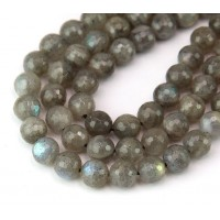 Labradorite Beads, Light Grey, 8mm Faceted Round