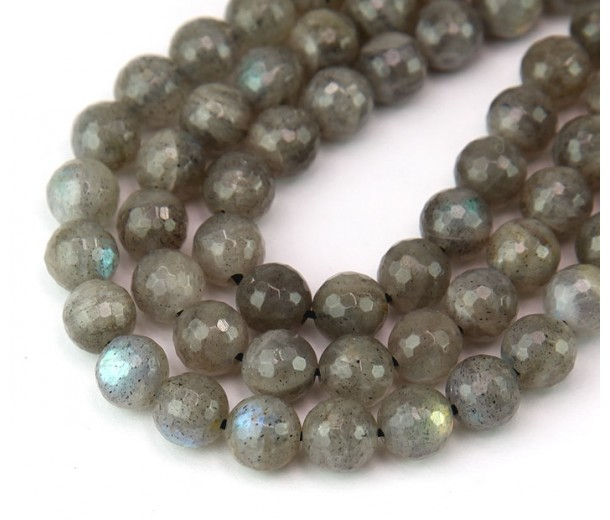 Labradorite Beads, Light Grey, 8mm Faceted Round