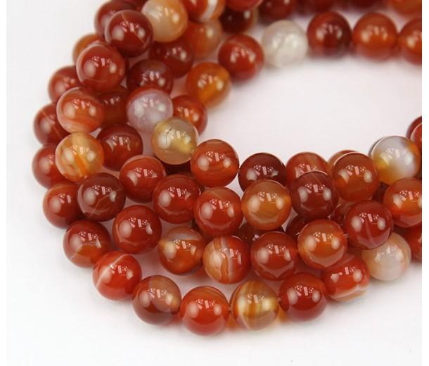 Striped Agate Beads, Terracotta Orange, 8mm Round
