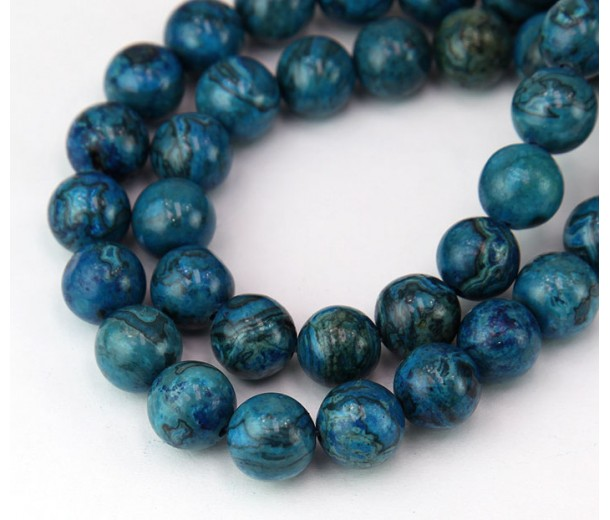 Crazy Lace Agate Beads, Blue, 10mm Round