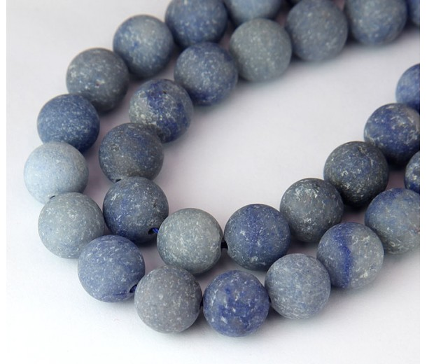 Matte Blue Aventurine Beads, 10mm Round