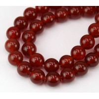 Carnelian Beads, Natural Dark Orange, 10mm Round