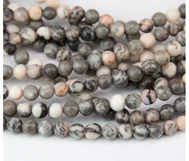 Pink Zebra Jasper Beads, Natural, 6mm Round