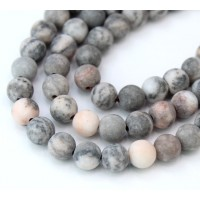Matte Pink Zebra Jasper Beads, Natural, 6mm Round
