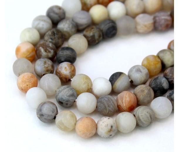 Matte Bamboo Leaf Jasper Beads, 6mm Round