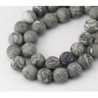 Matte Scenery Jasper Beads, Natural, 10mm Round