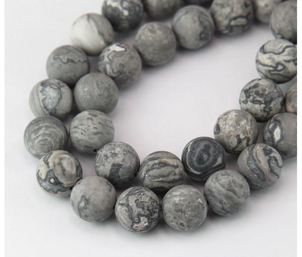Matte Scenery Jasper Beads, 10mm Round