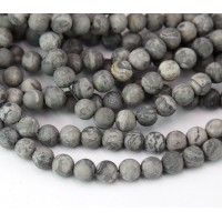 Matte Scenery Jasper Beads, Natural, 6mm Round