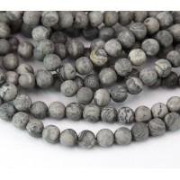 Matte Scenery Jasper Beads, 6mm Round