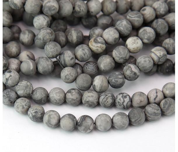 Matte Scenery Jasper Beads, Natural, 6mm Round