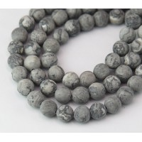 Matte Scenery Jasper Beads, Natural, 8mm Round