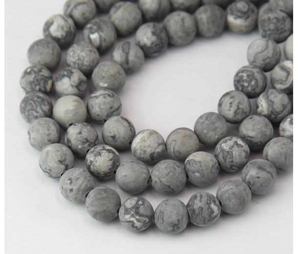 Matte Scenery Jasper Beads, 8mm Round