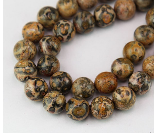 Leopard Skin Jasper Beads, Yellow, 10mm Round
