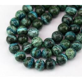 Dyed Zebra Jasper Beads, Blue Green, 8mm Round