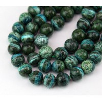 Dyed Zebra Jasper Beads, Blue Green, 8mm Round