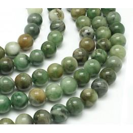 African Jade Beads, Medium Green, 8mm Round