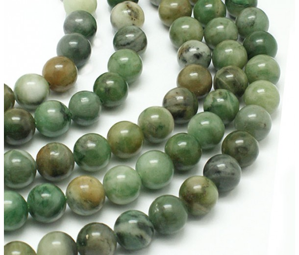 African Jade Beads, Natural Medium Green, 10mm Round
