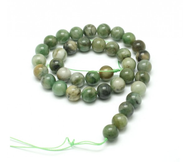 African Jade Beads, Natural, Medium Green, 8mm Round