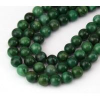 African Jade Beads, Natural, Dark Green, 8mm Round